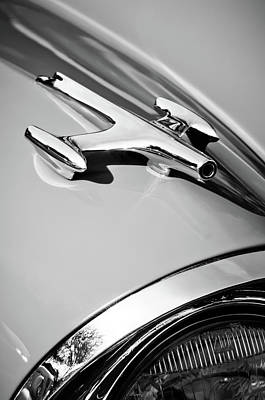 1957 Oldsmobile Hood Ornament -0267bw Print by Jill Reger