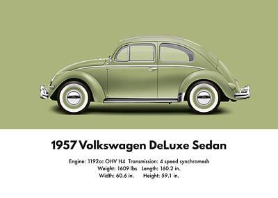 1957 Volkswagen Deluxe Sedan - Diamond Green Print by Ed Jackson