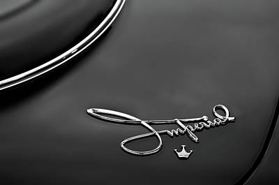 Photograph - 1958 Chrysler Imperial Emblem -0212bw by Jill Reger