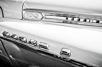 Photograph - 1958 Dodge Sweptside Truck Emblem -0039bw by Jill Reger