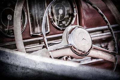 Mercedes Benz 300 Classic Car Photograph - 1958 Mercedes-benz 300sl Roadster Steering Wheel -1131ac by Jill Reger