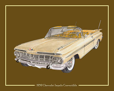 Cylinders Drawing - 1959 Chevrolet Impala Convertible by Jack Pumphrey
