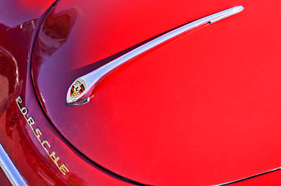 Historic Vehicle Photograph - 1959 Porsche 1600 Cabriolet Hood Ornament by Jill Reger