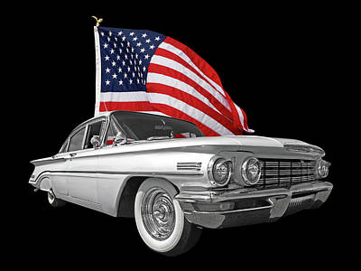 1960 Oldsmobile With Us Flag Print by Gill Billington
