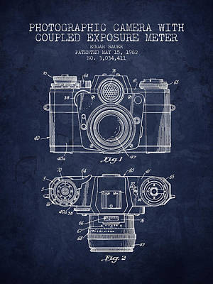 Camera Drawing - 1962 Camera Patent - Navy Blue - Nb by Aged Pixel