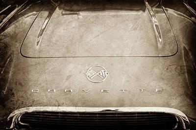 1962 Chevrolet Corvette Hood Emblems -0073s Print by Jill Reger