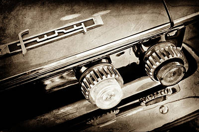 Fury Photograph - 1962 Plymouth Fury Taillight Emblem -0458s by Jill Reger