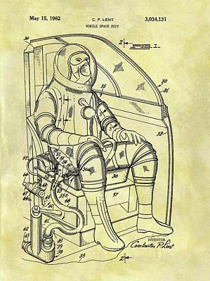 Astronauts Drawing - 1962 Space Suit Patent by Dan Sproul