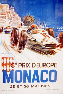 1963 F1 Monaco Grand Prix  Print by Georgia Fowler