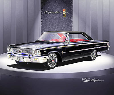 Muscle Car Drawings Painting - 1963 Ford Galaxie 500 Xl by Danny Whitfield