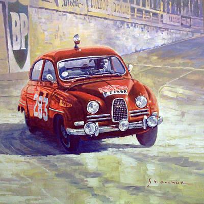 Carlos Painting - 1963 Saab 96 #283  Rallye Monte Carlo  Carlsson Palm Winner by Yuriy Shevchuk
