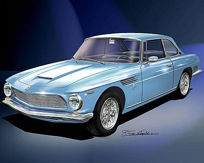 Muscle Car Drawings Painting - 1964 Iso-rivolta  by Danny Whitfield