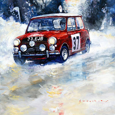 Carlos Painting - 1964 Rallye Monte Carlo Mini Cooper S Hopkirk Liddon Winner by Yuriy Shevchuk