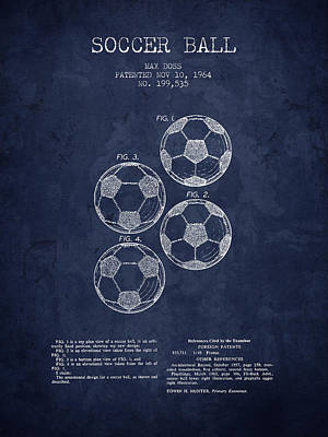 Football Art Drawing - 1964 Soccer Ball Patent - Navy Blue - Nb by Aged Pixel