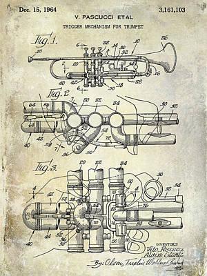 Vintage Music Photograph - 1964 Trumpet Patent by Jon Neidert