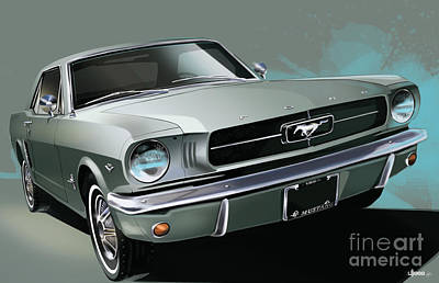 1965 Ford Mustang Coupe Print by Uli Gonzalez
