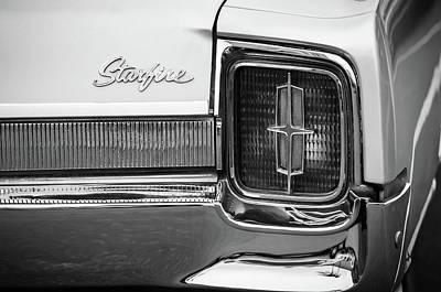 Photograph - 1965 Oldsmobile Starfire Taillight Emblem -0212bw by Jill Reger