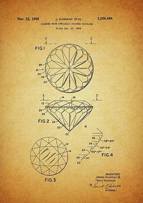 Diamond Engagement Ring Drawing - 1966 Brilliant Diamond Patent by Dan Sproul