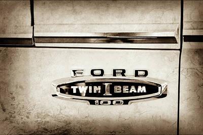1966 Ford F100 Emblem -110s Print by Jill Reger