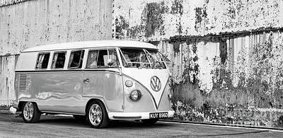 1966 Split Screen Vw Campervan Monochrome Print by Tim Gainey