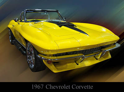 Poster From Digital Art - 1967 Chevy Corvette Convertible by Chris Flees