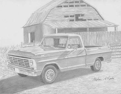 1967 Ford F-100 Pickup Truck Art Print Print by Stephen Rooks