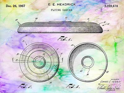 1967 Frisbee Patent Colorful Print by Jon Neidert