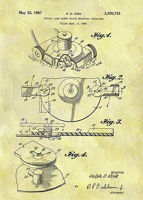 1967 Lawn Mower Patent Print by Dan Sproul