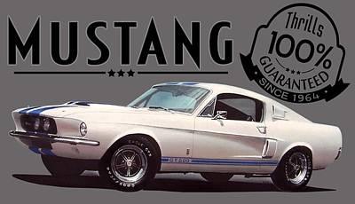 Cobra Mixed Media - 1967 Mustang Gt500 Thrills by Paul Kuras