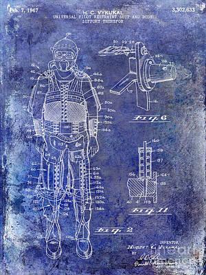 Spacecraft Photograph - 1967 Pilot G Suit Patent Blue by Jon Neidert