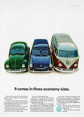 1967 Volkswagen Beetle Squareback And The Box Print by Digital Repro Depot
