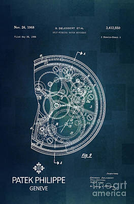 Historic Home Drawing - 1968 Patek Philippe Patent 1 by Nishanth Gopinathan