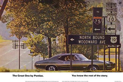 Detroit Tigers Digital Art - 1968 Pontiac Gto - Woodward - The Great One By Pontiac by Digital Repro Depot