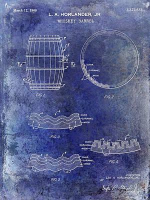 Beer Mixed Media - 1968 Whiskey Barrel Patent Blue by Jon Neidert