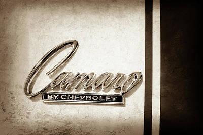1969 Photograph - 1969 Chevrolet Camaro Z-28 302 Emblem -0177s by Jill Reger