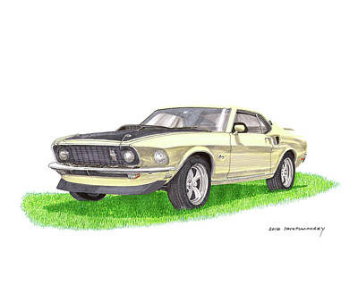 Pony Drawing - 1969 Mustang Fastback by Jack Pumphrey