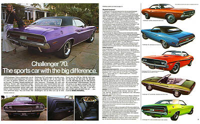 1970 Dodge Challenger Print by Digital Repro Depot