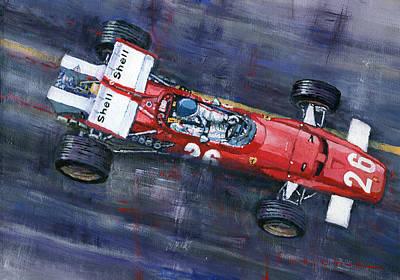 Racing Legend Painting - 1970 Monaco Gp Ferrari 312 B Jacky Ickx  by Yuriy Shevchuk