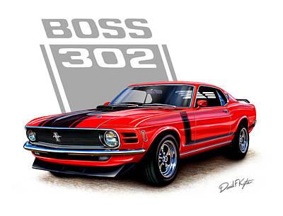 1970 Mustang Boss 302 Red Print by David Kyte