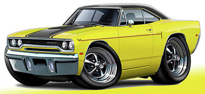 Roadrunner Digital Art - 1970 Roadrunner Yellow Car by Maddmax