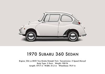 1970 Subaru 360 Print by Ed Jackson