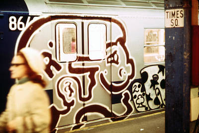 1970s America. Graffiti On A Subway Car Print by Everett