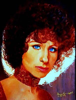 Women Painting - 1970s Barbra Streisand  by Georgia Doyle  brushhandle