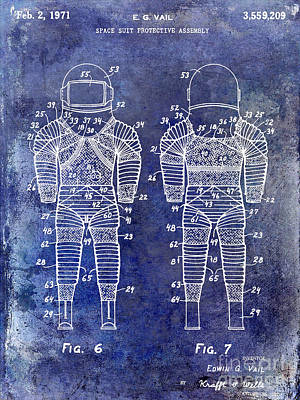 Neil Armstrong Neil Armstrong Photograph - 1971 Space Suit Patent Blue by Jon Neidert