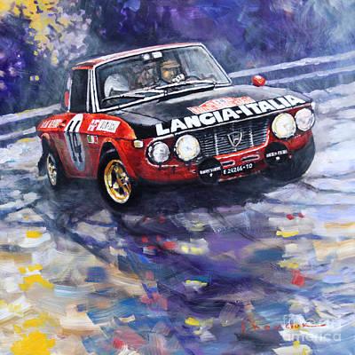 Carlos Painting - 1972 Rallye Monte Carlo Lancia Fulvia 1600hf Munari Mannucci Winner by Yuriy Shevchuk