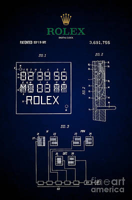 Historic Home Drawing - 1972 Rolex Digital Clock Patent 5 by Nishanth Gopinathan