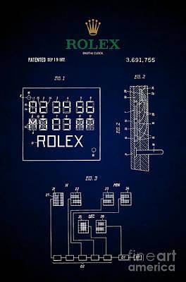 1972 Rolex Digital Clock Patent 5 Print by Nishanth Gopinathan