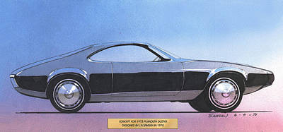 Concept Cars Mixed Media - 1973 Duster  Plymouth  Vintage Styling Design Concept Sketch by John Samsen