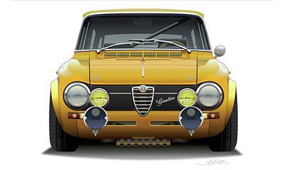 Spider Drawing - 1974 Alfa Romeo Giulia by Alain Jamar