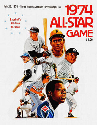 Mickey Mantle Painting - 1974 Baseball All Star Game Program by Big 88 Artworks